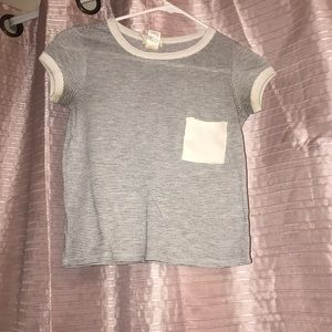 - stripped fitted crop top with white pocket